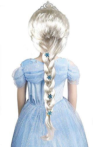 Peluca de princesa Elsa congelada Elsa para niños con Elsa Tiara Frozen Elsa Vestir Accesorios para niñas y niños (Elsa Wigs)