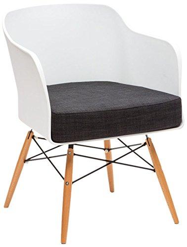 La Sediola Nordica, Art.026, Fauteuil Design, Coque en polypropylène Blanc, Pieds en hêtre Naturel, Coussin en Coton Anthracite, Lot de 2