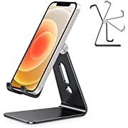 Phone Stand Holder Adjustable, OMOTON Full Aluminum Desk Phone Stand Dock Cradle for Filming, Adapted to iPhone 12 Pro, 11 Pro Max XR 8 Samsung Google Pixel and More(4-8in), Black