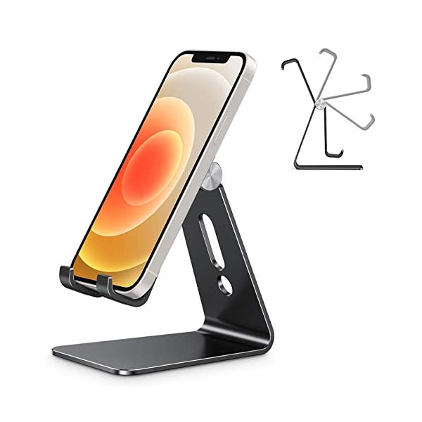 Adjustable Cell Phone Stand, OMOTON Aluminum Desktop Cellphone Stand with Anti-Slip Base and Convenient Charging Port… 1 41etN HN90L