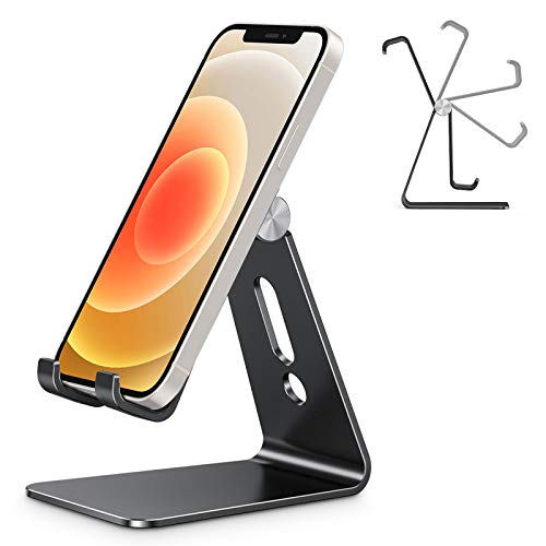 Adjustable Cell Phone Stand, OMOTON C2 Aluminum Desktop Phone Holder Dock Compatible with iPhone 11 Pro Max Xs XR 8 Plus 7 6, Samsung Galaxy, Google Pixel, Android Phones, Black