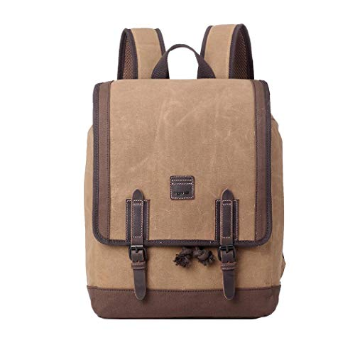 TRP0488 Troop London Heritage Canvas Leather Laptop Backpack, Canvas Backpack for Travel and Work ║H42 X W30 X D15CM