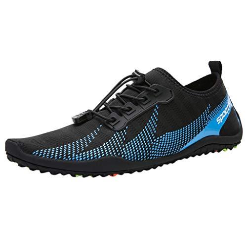 HDUFGJ Aquaschuhe Mesh Barfußschuhe Trekking Schuhe Badeschuhe Schnell Trocknend rutschfest für Damen Herren Laufschuhe Fitnessschuhe Leichtgewicht Laufschuhe Bequem35 EU(Blau)