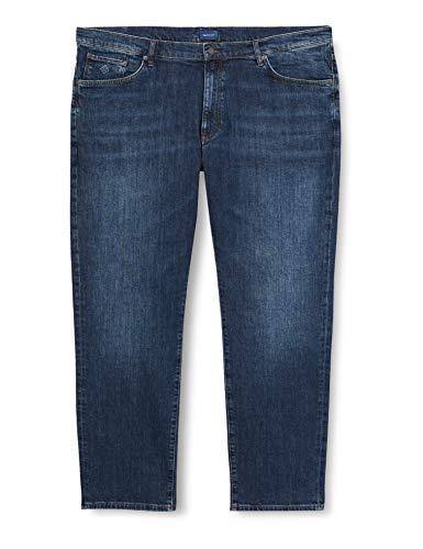 GANT Herren Slim Jeans Freizeithose, Dark Blue Worn IN, 33/32