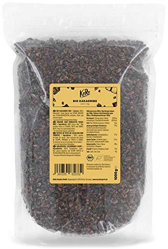 KoRo - Pépites de fèves de cacao bio 1 kg - Fèves de cacao naturelles, non torréfiées, sans additifs, au goût intense de cacao