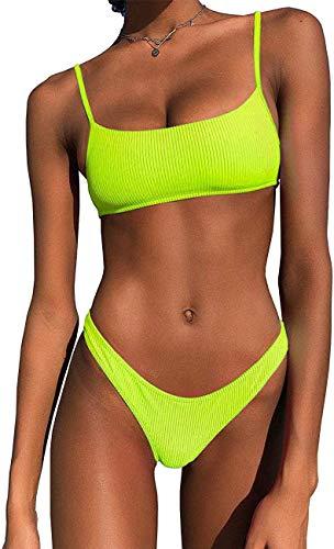 IBIZA VIBE Bikini-Set, gerippt, neonfarben, bauchfrei, hochgeschnitten, 2-teilig, brasilianisch, sportlich, Badeanzüge für Damen - Gelb - Medium