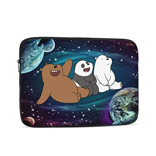 Starry We Bare Bears Laptop Sleeve 3D Printing Polyester Waterproof Shock Resistant with Zipper Protective Case,Compatible Satchel Tablet Carrying Sleeve 10 inch
