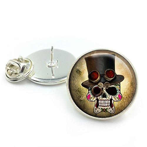 Bronce antiguo Insignia del Pin de solapa Steampunk  bisutería steampunk  bisutería steampunk  regalo para él  calaveras  día de los muertos  regalo para hombres  cráneo único  alfiler de corbata
