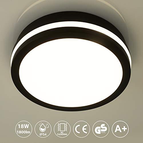 LED Deckenleuchte Badlampe, 18W 1800LM, Neutralweiß 4000K, LED Deckenlampe, Bürodeckenleuchte, für Schlafzimmer Wohnzimmer Küche Balkon, IP54 Spritzwasserschutz, Badleuchte, Wandlampe