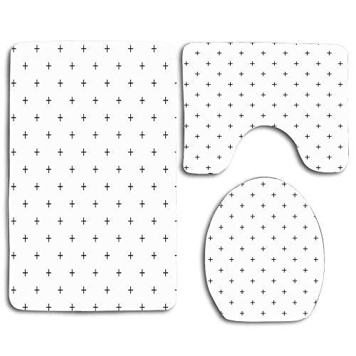 Motif géométrique simple fait plus subtile blanc noir monochrome monochrome rangée 3 pièces ensemble de salle de bain tapis tapis de contour + couvercle de couvercle de toilette + tapis de bain
