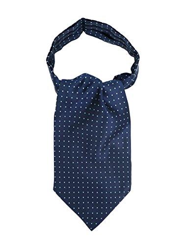 WANYING Herren Krawattenschal Ascotkrawatte Schal Cravat Ties Einfach Schick für Gentleman - Gepunktet Dunkelblau