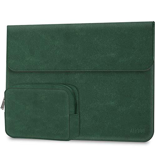 """TECOOL 13 3 Zoll Laptop Hülle Tasche Faux Wildleder Leder Notebook Schutzhülle und Zubehörtasche für MacBook Air 13 A1466/A1369, MacBook Pro 13 A1502/A1425, MateBook D 14, 13.5\"""" Surface Laptop - Grün"""