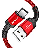 USB C Charging Cord 3A Fast Charging, JSAUX [2 Pack 3.3FT] USB Type C Charger Cable Braided Compatible with Samsung Galaxy S10 S9 S8 S20 Plus A3 A5 2017 Note 10 9 8, LG G5 G6 V20, Pixel 2/3/4-Red