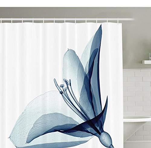 Yiciyici 3D Duschvorhang Xray Flower Decor Collection Inspiriert Transparente Bild Von Amaryllis Blume Natur Dekorieren Artwork Badezimmer Duschvorhang 180(H) X210(W)