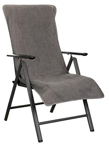 Brandsseller Frottee-Schonbezug für Gartenstuhl und Gartenliege sowie als Strandliegenauflage - aus 100% Baumwolle - ca. 65 x 130 cm - Anthrazit