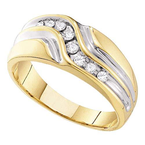Saris and Things Anillo de Boda para Hombre en Oro Amarillo de 10k Anillo de Diamante Redondo 1/4 cttw