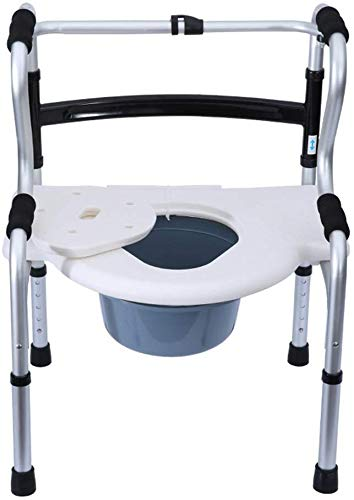 COUYY Klappbarer Bariatrische Toilettenstuhl Multifunktionale ältere Wanderhilfe Bettstößel-Commode Sitzhöhe einstellbar mit Sicherheits-Aluminiumlegierungsrahmen
