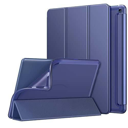 MoKo Funda Compatible con Nueva Kindle Fire HD 10 & 10 Plus Tableta (11ª Generación, 2021 Versión), Cubierta Protectora Ultra Delgada Plegable Inteligente Trasera Transparente con TPU Soporte, Índigo