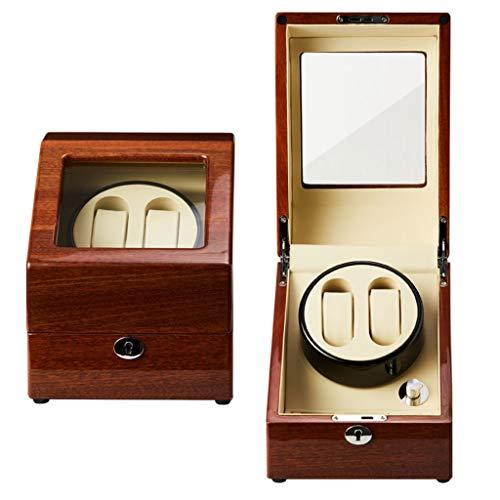 Oksmsa Lujo 2+3 Automático Caja Giratoria de Reloj, 5 Modo, Madera Cuero de la PU Relojes Caja de Bobinado, Mudo Motor, Caja de Almacenamiento de Reloj (Color : Beige)