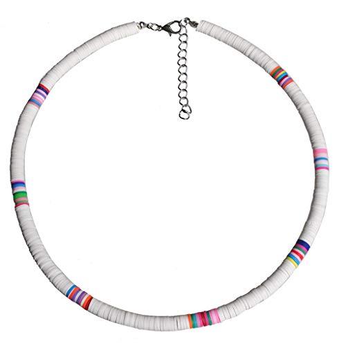 DREAMDEER Gargantilla con Cuentas de Arcilla Colorida de Playa Collar de Arcilla polimérica arcoíris Boho - Blanco