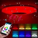 ShangSky - Lámpara de techo led regulable, altavoz RGB con Bluetooth, música para dormitorio, con aplicación a distancia, para habitación de los niños, regalo, Blanco, 185-265v 36cm 60w