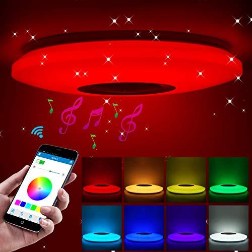 ShangSky Deckenlampen LED Dimmbar,RGB Bluetooth Lautsprecher Musik Schlafzimmer Lampen,mit APP Fernbedienung,für Kinderzimmer Kinder Geschenk,60 W,185-265 V