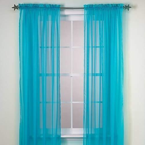 "GorgeousHomeLinenDifferent Solid Colors 2 PC Rod Pocket Sheer Window Curtains Treatment Drape Voile Elegant Panels 55"" Width X 63"" 84"" 95"" Length (84"" Length, Turquoise)"