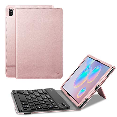 Fintie Keyboard Case for Samsung Galaxy Tab S6 10.5' 2019 (Model SM-T860/T865/T867), [Patented S Pen Slot Design] Folio Stand Cover with Removable Wireless Bluetooth Keyboard, Rose Gold