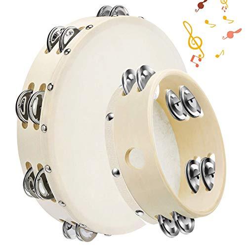 Holz Trommel mit Jingles,Holz Handheld Tamburin,Tamburine mit Jingel Bells,handtrommel percussion,tamburin trommel,tamburin holz,tambourin percussion, handtrommel für kinder (Doppelreihe)