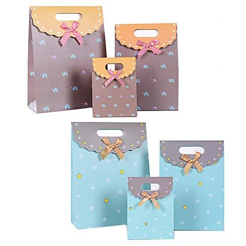 Xinlie Geschenktaschen Papier Geschenktasche mit Klettverschluss Papiertüten Geschenktüten Kindergeburtstag Weihnachten Geschenktüten Set 6 Stücke (3 Größe * 2 Farben)