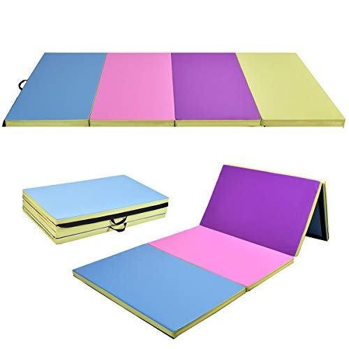 Giantex 4'x10'x2 Gymnastics Mat Folding Panel Thick Gym Fitness Exercise (Multi-Colors)