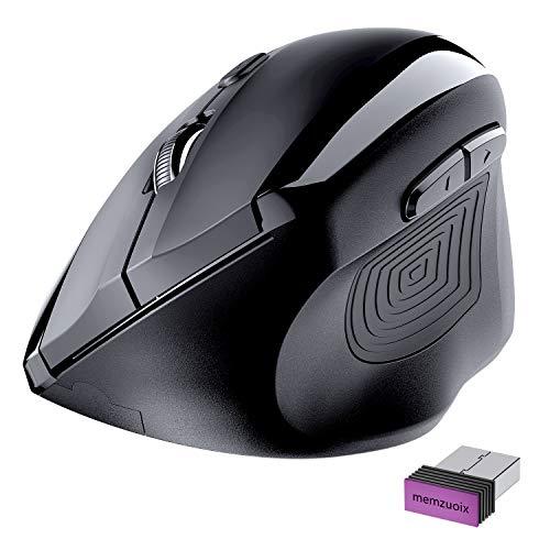 Memzuoix Vertikale kabellose Maus, 2.4G Optische Premium ergonomische Maus zur Linderung von Schmerzen am Handgelenk, 800/1200/1600dpi, 6 Tasten Akku-Computermaus für Laptop, Computer, PC (Schwarz)