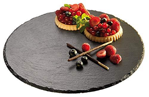 APS drehbare Torten-/ Servierplatte aus Schiefer, Ø 32 cm, 2,5 cm Höhe, Plattenstärke 6-9 mm, Kuchenplatte, Antirutsch-Füßchen, schwarz
