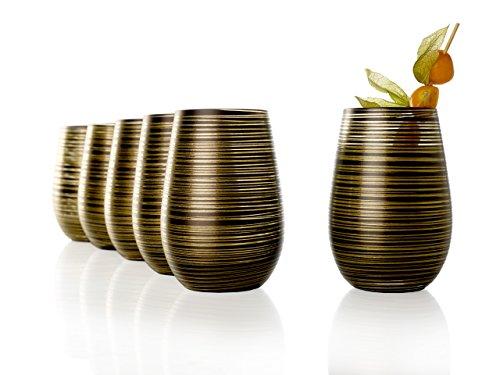 Stölzle Lausitz Becher Twister, 465 ml, 6er Set, in schwarz (matt) und Gold, universell einsetzbar, für Wasser, Säfte, Cocktails, Wein, Windlicht, Vase, spülmaschinenfest