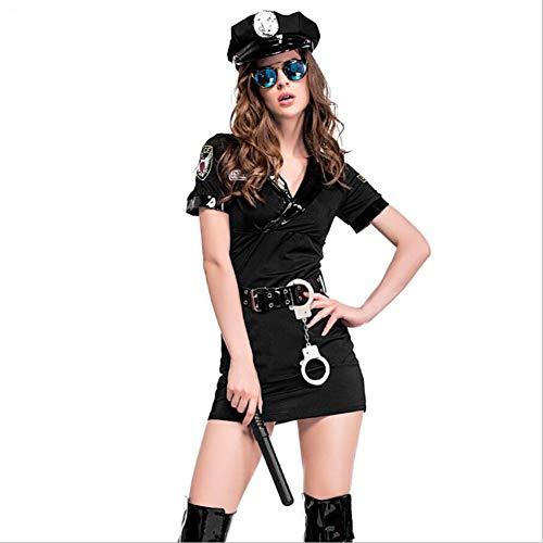 CGBF - Disfraz de polica para mujer de polica, uniforme de cosplay travieso, disfraz de polica para fiesta de Halloween, color negro, S