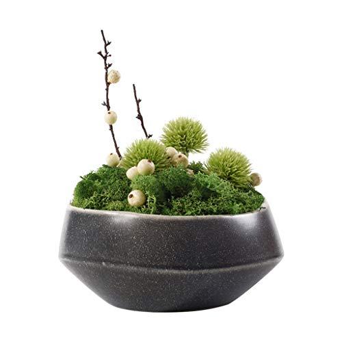 Kunstbonsai Neue chinesischen Stil künstliche Blume Ewige Blumen-Grün Moss künstliche Anlage, Keramik Blumentopf Wohnzimmer Artificial Kleine Bonsai, Tisch Couchtisch Mini Artificial Pot Künstliche Bo