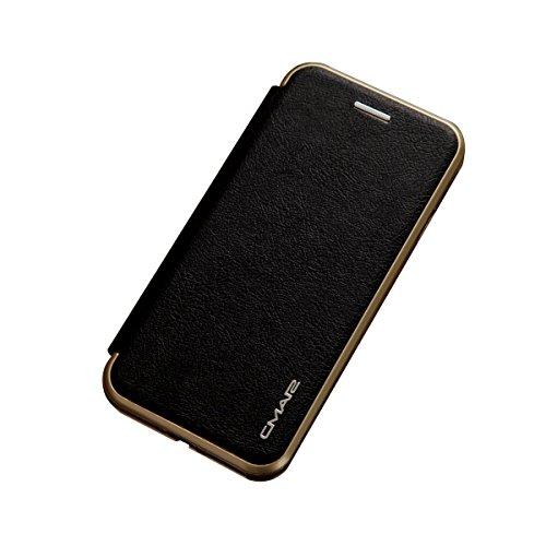 【ガラスフィルム付き】 iPhone 7 Plus ケース 手帳型 横開き 二つ折り PUレザー 耐衝撃 カード収納 スタンド機能 マグネット 磁気吸着 軽量 薄型 ブランド 正規品 (ブラック)