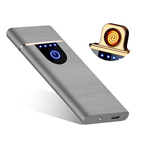 RiverMolars Y20 USB elektronisches Feuerzeug, Aufladbar Lichtbogen Elektro Feuerzeug, Touchscreen, Winddicht, Flammenlos, für Anzünden, Küche, Grill, Kerzen und Zigaretten (Gebürstet -Silber)