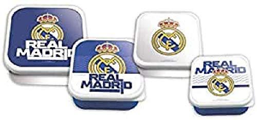 Real Madrid Set 4 sandwicheras en 1 Fiambreras bento-Porta Alimentos Artículos para el hogar Unisex Adulto, Multicolor (Multicolor), Talla Única