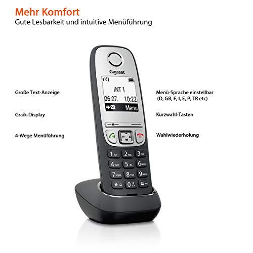 Gigaset A415 Duo Telefon – Schnurlostelefon / 2 Mobilteile mit Grafik Display – Dect-Telefon mit Freisprechfunktion – Analog Telefon – Schwarz - 4