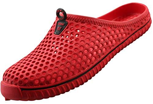 SAGUARO Clogs Atmungsaktiv Mesh Hausschuhe Sommer Hohl Latschen Gartenschuhe Freizeit Badeschuhe Strand Aqua Slippers Flach Sohle Pantoffeln Damen Herren,Rot,39 EU (Label size 40)