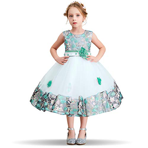 NNJXD Mädchen Tutu Blütenblätter Schleife Brautkleid für Kleinkind Mädchen, Grün, 3-4 Jahre/ Etikettgröße- 110