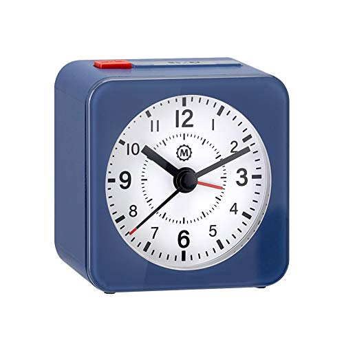 Marathon Mini Travel Alarm Clock, Silent Sweep, No Ticking, Auto Back Light and Snooze Function (Blue/White Dial/Black Hands)