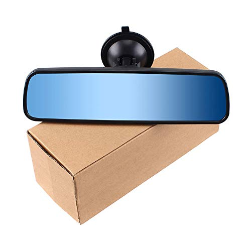Kelay Car Interior Rear View Mirror,Strong Suction Cup Auxiliary Mirror Universal for Truck Coach Car Anti-Glare Mirrors(Blue,24.8 * 7cm)