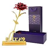 Hoja de Oro 24K Rosa,hicoosee Rosa con Soporte Love y Caja de Regalo Día para San Valentín, Día de la Madre, Aniversario, Boda, Cumpleaños,Decoración del Hogar