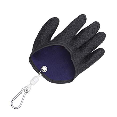 BESPORTBLE Fang Fischhandschuhe Verdicken Gummikorn rutschfeste Angelhandschuhe Anti-Fischgräten-Handschuhe mit Hängender Schnalle für Die Indoor-Outdoor-Angeljagd (Schwarz Rechte Hand)