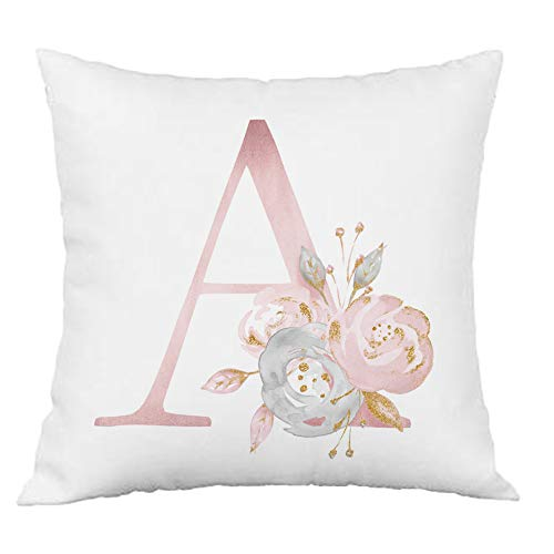 Hangood Pink Flowers Alphabet Letter Cushion Covers A 18x18 Soft Throw Pillow Cover 45cm x 45cm A
