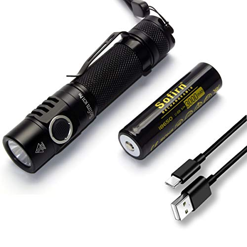 Sofirn SC31 Pro Torcia Led Super Luminosa 2000 Lumen SST40, Ricaricabile USB Torcia Portatile Anduril UI 6 modalità Leggera e Resistente all'acqua Funzione di Memoria, con batteria 18650