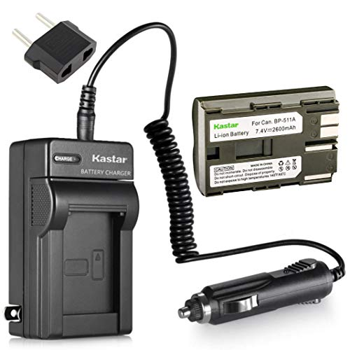 Kastar Battery 1 Pack and Charger Kit for Canon ZR40 ZR45 ZR50 ZR60 ZR70 ZR80 FV100 FV200 FV2 FV3 FV10 PowerShot G1 G2 G3 G5 G6 Pro1 Pro90 PV130 EOS Rebel DS6041 Camera and Canon BP-511 BP511A Battery
