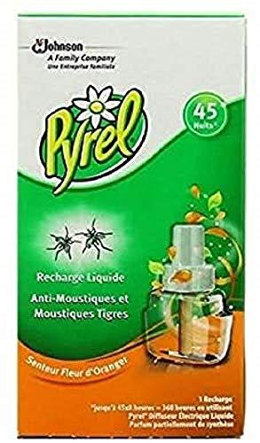 Pyrel Insecticides Ménagers Electrique Liquide Recharge 45 Nuits Parfum Fleur d'Oranger - Lot de 3